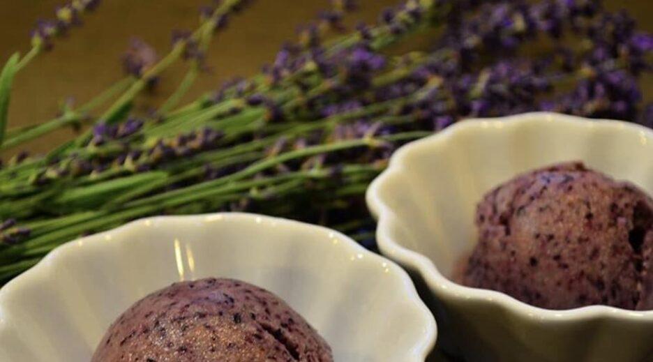 Lavender Blueberry Sorbet, Old Parkdale Inn